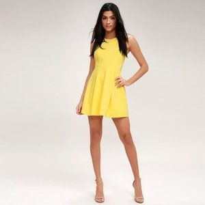 NWT Lulu's Cutout and About Yellow Skater Dress
